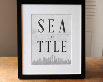Seattle Skyline, Seattle Poster, Seattle Art, Skyline Art Seattle, Seattle Design, Gift for Friend, Seattle Decor