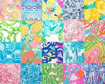 "Lilly 2015 Poplin Cotton Fabric 20 Squares Quilt Blocks ~ 6"" x 6"" Each"
