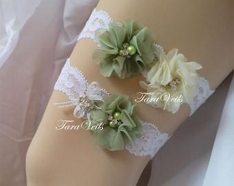 Wedding Garter Ivory Bridal Garter Green & Ivory Garter Chiffon flower Garter Rhinestone Garter bridal garter lace garter Vintage Garter