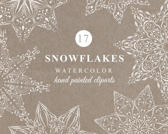 17 SNOWFLAKES hand painted, watercolor clipart, christmas clipart, 17 png files. no background, 300 dpi