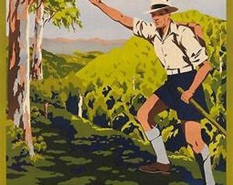 Vintage South Queensland Australia Tourism Poster A3 Print