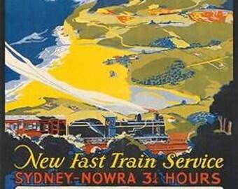 Vintage Sydney Wollongong Nowra Australia Railway Poster A3 Print