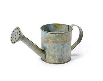 Vintage Galvanized Metal Watering Can  - Antique Gray - 8.25 x 3.75 x 4 inches