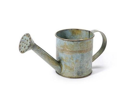 Vintage Galvanized Metal Watering Can Antique Gray X