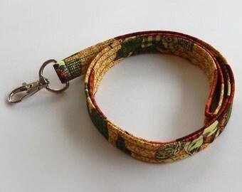 Autumn Lanyard / Fall Leaves Keychain / Leaf Print / Key Lanyard / ID Badge Holder / Fabric Lanyard / Harvest Lanyard / Pretty Lanyard