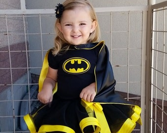 Batman inspired ribbon trimmed tutu outfit,Halloween,Batgirl tutu, batgirl tutu skirt, batman birthday outfit set, toddler girl, black tutu