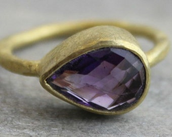 Amethyst  Ring - Gold Ring-  Gemstone Ring - Stacking Ring - Amethyst Jewelry - Gifts for Her  - Bezel Set Ring - February Birthstone