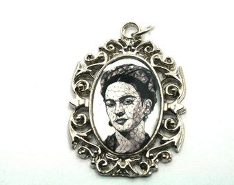 Frida Kahlo pendant,1pc,48mmX35mm,Pewter Pendant for making Jewelry,Dia de los Muertos Jewelry,Day of the Dead Jewelry,Black and White Frida
