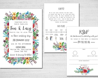 Printable Wedding Invitation - Colourful Watercolour Flowers
