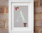 Toadstool Initial - Gicleé print
