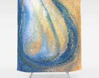 """Blue and Tan Shower Curtain - """"Ocean Wave"""" Mosaic Shower curtain water and sand waves, Island art, coastal decor, bath, home"""