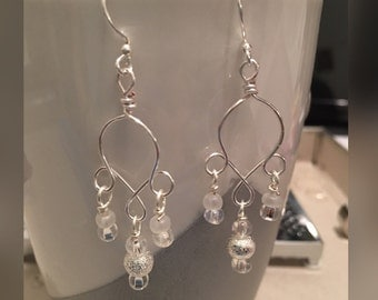 Handmade wire and bead earrings