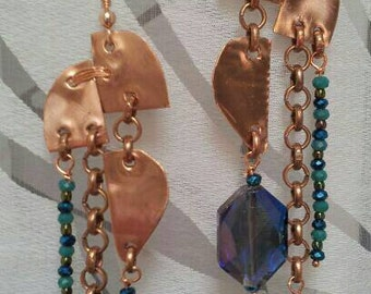 "Earrings ""copper Clippings"""