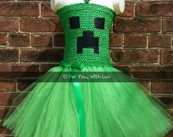 Halloween Tutu Dress. Creeper Mine craft Tutu Dress. Halloween Costume. Girls Halloween Tutu. Free Shipping USA!