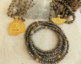 Pyrite Gemstone and 24k Gold Vermeil or 14k Solid Gold Layering Necklaces
