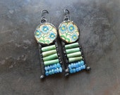 Forget me not vintage soldered tin chalcedony ceramic beaded earrings