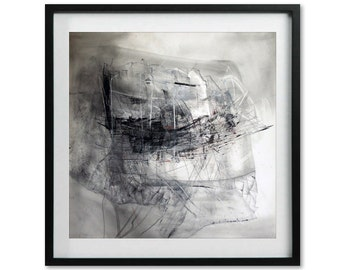 Abstract Art Print of Art Drawing, Pencil, Pen, Charcoal, Ink Drawing, Black and White Art, Giclee