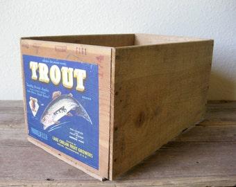 Vintage Trout Apples Wooden Crate ~ Apple Crate ~ Storage Crate ~ Vintage Wood Crate