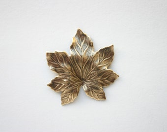2 Large Maple Leaf Antique Bronze - 40mm x 34mm Boho Woodland Nature Made in USA