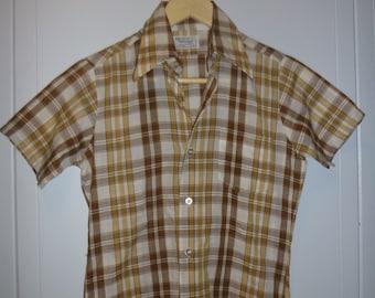 Vintage Plaid Boys Shirt Size 12 Towncraft JC Penney / 1960s 1970s