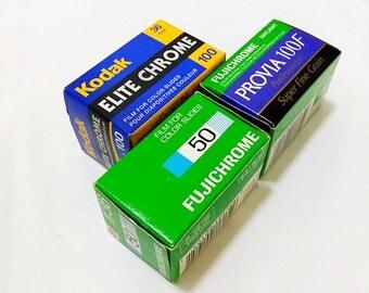Set of 35mm Slide Film - 1 roll Kodak Elite Chrome EB 100 + 1 roll Fujichrome Provia 100F + 1 roll Fujichrome 50