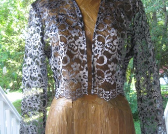 Vintage 80's Black Silver Lace Shrug Bolero Small/Medium