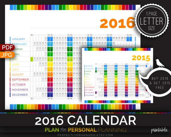 Diy Rainbow Calendar : Calendar rainbow year by perfectlyorganized