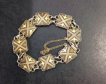 Damascene gold plated bracelet
