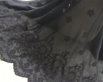 "Chiffon Fabric Black Retro Exquisite Floral Embroidery Wedding Fabric Bridal Fabric 47.2"" width 1 yard"