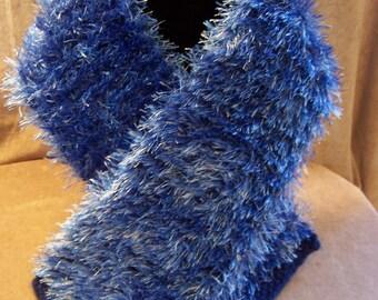 Handmade Two-Tone Blue Acrylic Scarf