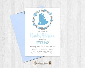 Cinderella Bridal Shower Invitation Printable Princess Fairy tale Wedding Shower Floral Flower Chic Boho