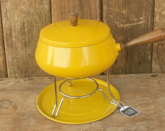 Vintage Yellow Fondue Pot