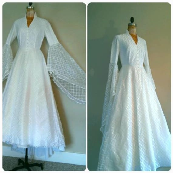 Items similar to vintage 1970s woodland wedding gown for Angel wings wedding dress