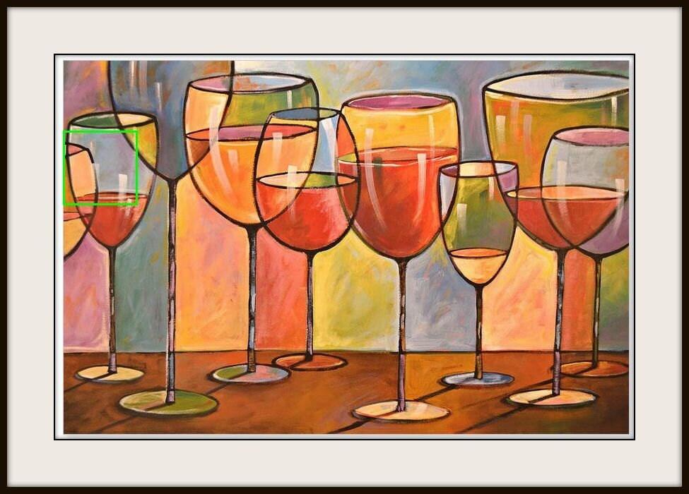 Wine glasses from an original acrylic folk art painting by for Acrylic paint on wine glasses
