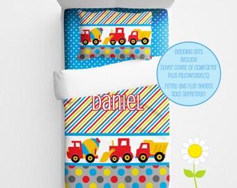 Personalized Construction Bedding for Kids - Construction Duvet or Comforter for Boys - Personalized Duvet Set - Custom Kids' Comforter