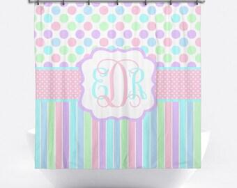 Monogrammed Shower Curtain - Pastel Polka Dot Personalized Shower Curtain - Custom Shower Curtain with Monogram - Pastel Bath Decor