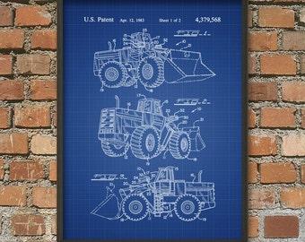 Tractor Loader Patent Print - Tractor Loader Poster - Mechanical Loader - Boys Bedroom Decor - Bedroom Wall Art - Boys Bedroom Patent