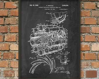 Jet Engine Patent Print - Frank Whittle Jet Engine Patent Wall Art Poster - Turbojet Engine Invention - Aircraft Engine Design