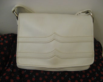 Vintage 70s White Cream Hand Shoulder Satchel Bag Messenger Soft Leather
