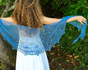 blue skies silk shawl, beaded, something blue, cobalt, art deco