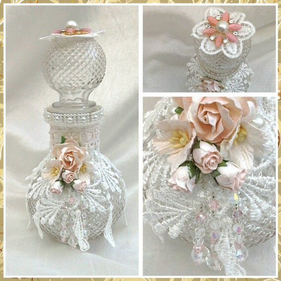 Shabby Chic Bottleshabby Chic Decor Altered Bottle