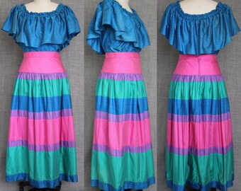 1980s Silk Ruffled  Peasant Two Piece
