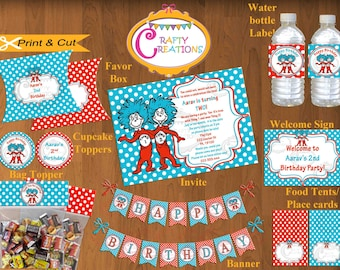 Thing 1 Thing 2 Printable Package - Printable Dr Seuss Birthday Party Package - Personalized - Customized -  Red - Blue - CraftyUAE