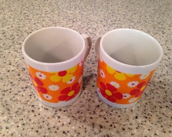 Lobeco Japan  orange red and yellow floral mugs
