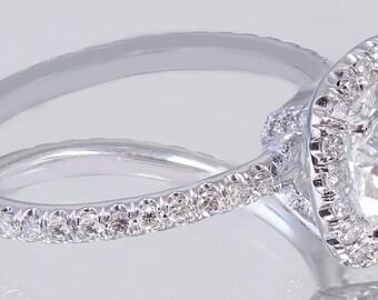 EGL USA I-SI1 18K White Gold Round Cut Diamond Engagement Ring Halo Prong 2.15ct