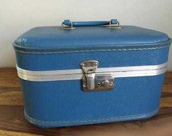 Vintage Blue Train Case Suitcase Vanity Case