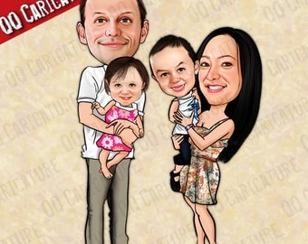 Custom Family/Group Caricatures from Photo (style#01)