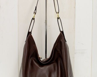 """Mahoghany Brown super soft Italian leather hobo bag with bucket style bottom """"BELLA"""""""