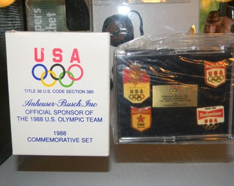 REDUCED!!! NIB 1988 Anheuser-Busch Olympic Team Commemorative 5 - Pin Set