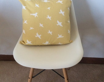 Yellow and white bird pillow cover